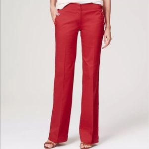 ANN TAYLOR LOFT Red Wide Leg Marisa Sailor Pants